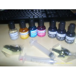 Kit De Recharge Pour Hp 21 / Hp 22 - 3x90ml Couleur, 3x90ml Noir + 1 Seringue