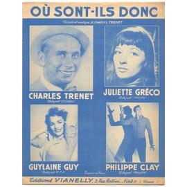 où sont-ils donc / partition originale 1955 (piano et chant) / juliette gréco, charles trenet, philippe clay, guylaine guy