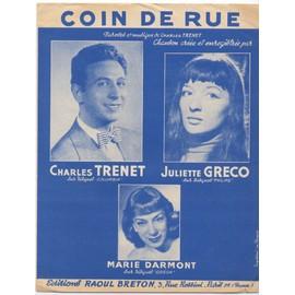 coin de rue / partition originale 1954 (piano et chant) / juliette gréco, charles trenet, marie darmont