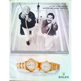 """Occasion, publicité ancienne (mai 2002) pour les montres """" rolex yacht-master, rolex datejust et rolex oyster perpétual """" avec les navigateurs """" paul elvström et Paul Cayard """""""