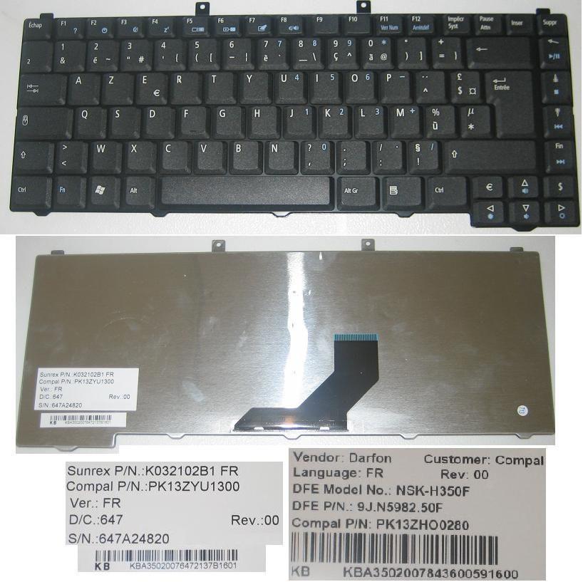 Clavier AZERTY noir pour PC portable Acer Aspire 3100 5100