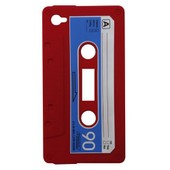 Coque Vintage Cassette Audio Silicone Rouge Iphone 4