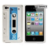 Housse De Protection En Silicone Blanc En Forme De Cassette Audio Pour Iphone 4