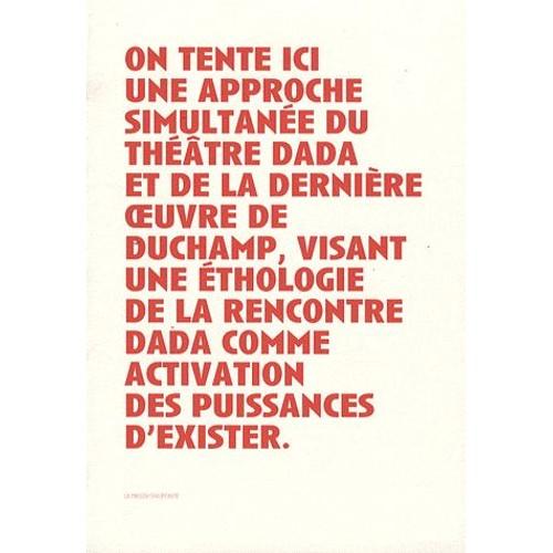 9782915821123 - François Noury: Duchamp, Le Regardeur Et La Scène De L'art : Un Théâtre Dada - Suivi De Manifeste(S) Pour Un Théâtre Rastaquouère - Livre