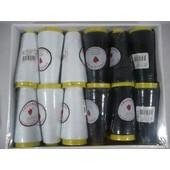 Lot De 12 Bobines De Fil � Coudre/6 Noir Et 6 Blanc