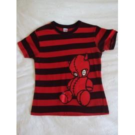 T-Shirt Diabolik � Rayures Noires Et Rouges
