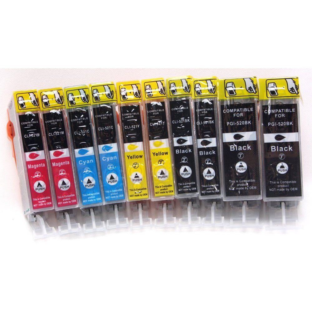 10 Compatible Cartouches D'encre Avec Puce & Contr�le Du Niveau, Pour Canon Cli-521 Pgi-520, Directement Applicable, Pour Imprimantes Canon Pixma Ip3600, Pixma Ip4600, Pixma Ip4700, Pixma Mp980, Pixm
