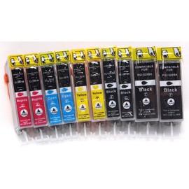 Avec Puce !!! 10 Cartouches D'encre Compatible Pour Les Imprimantes Canon Pixma Ip 4820, 4850, Ix 6520, 6550, Mg 5120, 5150, 5220, 5250, 6120, 6150, 8120, 8150, Mx 882, 885 Compatible � Canon Pgi-525b
