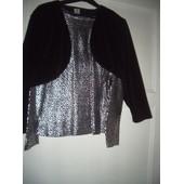 Lot Bol�ro Velours Et Tee-Shirt Noir Argent� Taille 38