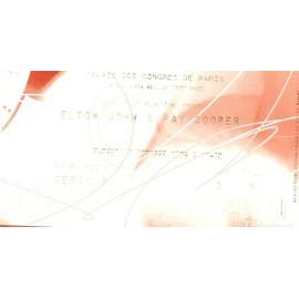 Ticket de concert ELTON JOHN & RAY COOPER du Vendredi 2 octobre 2009 catégorie 1