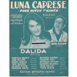 Partition Dalida, & Bob Azzam:   Luna Caprese 4p 1959 (4ème trim.), par Gosset & Grelbin (France); Cesareo (paroles italiennes) Ricciardi (Musique); photo & fond verts