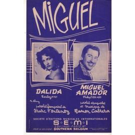 Partition Dalida, Miguel Amador:   Miguel, 4p 1957 (Guaracha Mambo) par Ramon Cabrera (Paroles françaises Marc Fontenoy); photos & fond bleus