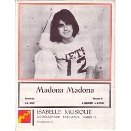 Partition Alain Chamfort: Madona Madona 4p 1975  Paroles Jean-Michel Rivat & Musique Chamfort+ M.Pelay; photo n&b/