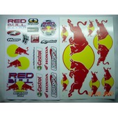 Lot 2 Planches Autocollantes Stickers Monster Energy Torro Rosso Castrol Honda Moto Motocross Dirt