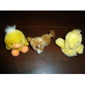 Lot De 3 Peluches : Poussin-Canard-Lion