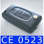 Coque T�l�commande Plip Bouton Coffre Ce0523 Peugeot 107 - 308 - 807 - 5008 - Bipper - Partner - Expert Tepee Et Citroen C5 + Cle Avec Rainure