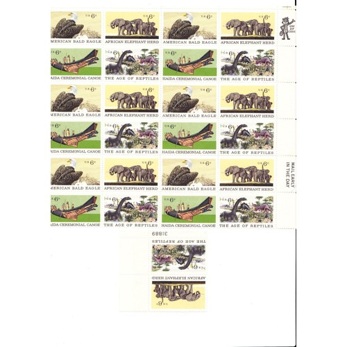 Lot 26 timbres us de 6 c <strong>american</strong> bald <strong>eagle</strong> african elephant herd haida ceremonial canoe the age of reptiles