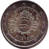 Euro - Pi�ce 2 Euros Comm�morative - 2012 - Pays-Bas - 10 �me Anniversaire De L'introduction Des Pi�ces Et Billets En Euro