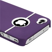 Coque Iphone 4 / 4s *Silver Line Series* Violette + Film De Protection D'�cran