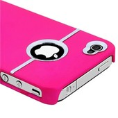Coque Iphone 4 / 4s *Silver Line Series* Rose + Film De Protection D'�cran