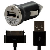 Chargeur Voiture Allume Cigare Usb + Cable Data Couleur Noir Pour Apple : Iphone / Iphone 3g / Iphone 3gs / Iphone 4 / Iphone 4s / Ipod Nano 1g / Ipod Nano 2g / Ipod Nano 4g 8/16 Gb / Ipod Nano 5g 8/1