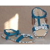 Chaussures Sandales Tongs Fille Similicuir Et Tissus Fleuries Pierre-Cedric !! Expedition En 24/48hrs
