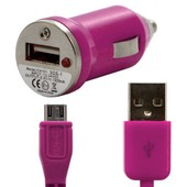 Chargeur Voiture Allume Cigare Usb + Cable Data Couleur Rose Fushia