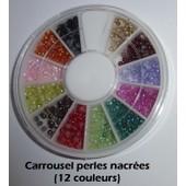 Boite Carrousel Distributeur De Strass Perles 12 Couleurs 1mm - Nail Art Ongles Naturels & Faux - Accessoire Manucure