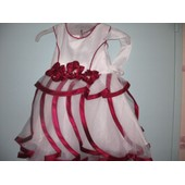 Splendide Robe Mariage , Ceremonie, Cortege, Bateme 3-4 Ans Blanc Bordeau Neuf