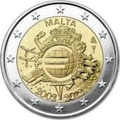 Euro - Pi�ce 2 Euros Comm�morative - 2012 - Malte - 10 �me Anniversaire De L'introduction Des Pi�ces Et Billets En Euro