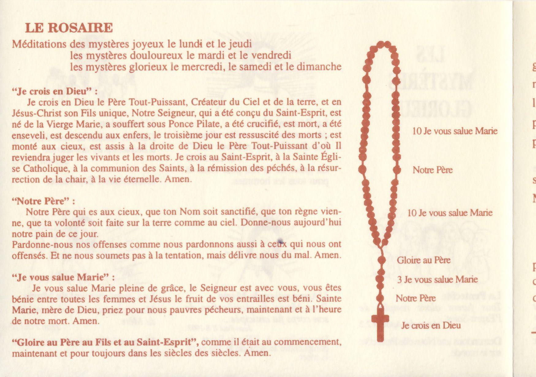 """Résultat de recherche d'images pour """"feuillet du Saint Rosaire"""""""