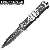 Tac Force - Couteau Automatique Stilleto The Punisher - Skull Face - Black - Clip Ceinture Au Manche #Ks2039bk