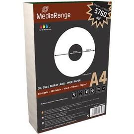 Mediarange - Etiquettes Pour Cd/Dvd Opaques Adh�sives - Blanc - Cd (41 X 118 Mm) - 70 G/M2 - 100 �tiquette(S) ( 50 Feuille(S) X 2 )
