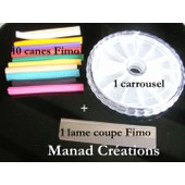 Lot Kit Fimo Cane X 10 + Carrousel + Lame Coupe Fimo/ Polymer Clay Stick + Box Empty + Cutter