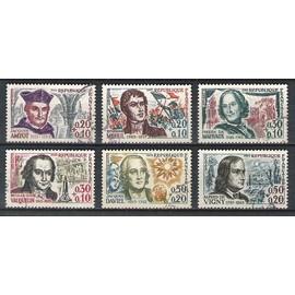 france, 1963, célébrités & personnages célébres, série n°1370 à 1375, oblitérés.