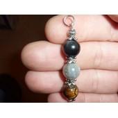 Pendentif Protection Extreme Oeil De Tigre-Labradorite-Obsidienne Oeil Celeste Perles : 10 Mm