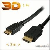 C�ble mini HDMI vers HDMI 3m v1.4 High Speed 3D - 3m