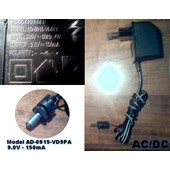 Transformateur 9.0v - 150ma (Model Ad-0915-Vd9pa) Ac/Dc