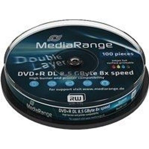 MediaRange DVD+R Double Layer 8x Inkjet Fullsurface-Printable Cake 10