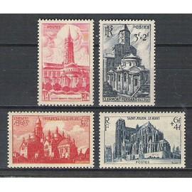 france, 1947, cathédrales et basiliques, n°772 à 775, neufs.
