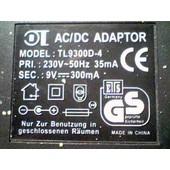 Transformateur 9v - 300ma (Ac/Dc) Model Tl9300d-4