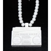 Collier En Perles De Bois Type Goodwood (Hip-Hop, Bling) Mod�le Radio Ghetto Blaster