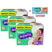 252 Couches Pampers Active Fit Taille 5 Junior (11-25 Kg) - M�ga Pack + Offert 64 Lingettes Pampers Z�ro Parfum