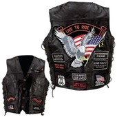 Gilet Cuir Harley / Biker / Custom / Moto Live To Ride Taille Xxxl