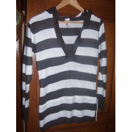 Pull Tunique Tr�s Fin T 12 Ans Ray� Blanc/Marron Comme Neuf