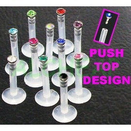 Lot De 5 Piercing Labret De Levre Mouche Strass Bioflex Coloris Assorties