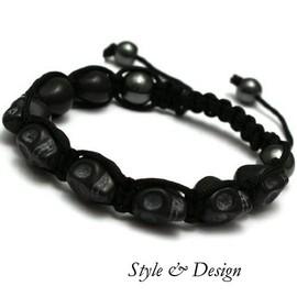 Bracelet Shamballa Skull H�matite T�te De Mort Noir 9 Perles Nialaya Ultra Tendance