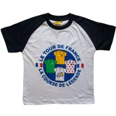 T-Shirt Le Tour De France - La France En Maillot Jaune Vert Blanc Et � Pois - Collection Officielle - Cyclisme - Tee Shirt Enfant