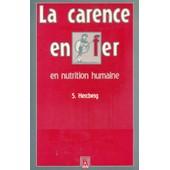 La Carence En Fer En Nutrition Humaine de Hercberg, Serge