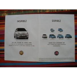 Occasion, publicité ancienne (mars 2008) pour la fiat 500 et la gamme eco - citoyenne fiat : punto, idea, panda, grande punto, bravo.